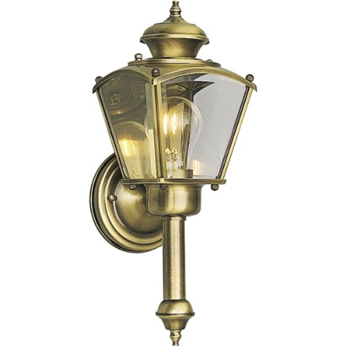 Progress Lighting P5846-11 Wall Torch with Clear Beveled Glass Panels, Antique Brass (Lighting Torch Wall)