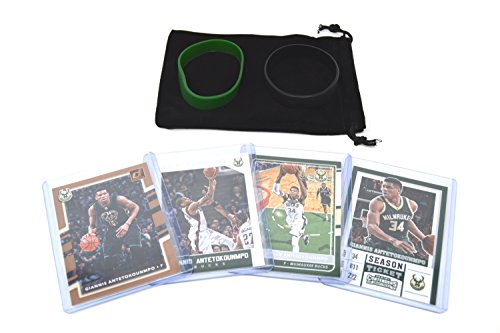 fan products of Giannis Antetokounmpo Basketball Cards Assorted (4) Gift Bundle - Milwaukee Bucks Trading Cards
