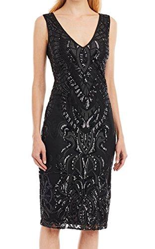 Nicole Miller Womens Sequined V-Neck Sheath Dress Black 4