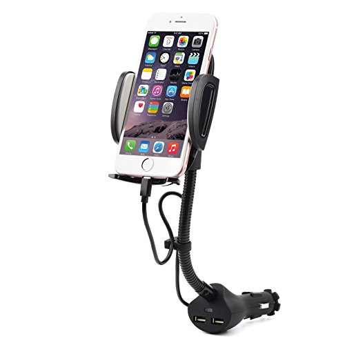 AUOPLUS Cigarette Lighter Phone Holder Car Mount Charger 3.1A Dual USB Ports with Built-in Charging Cord for iPhone by AUOPLUS (Image #7)