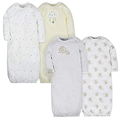 GERBER Baby 4-Pack Gown, Clouds/Elephant, 0-6 Months