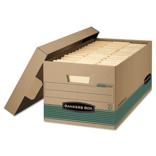 Fellow Stor/File Storage Box, Legal, Locking Lift-Off Lid, Kraft/Green, ()