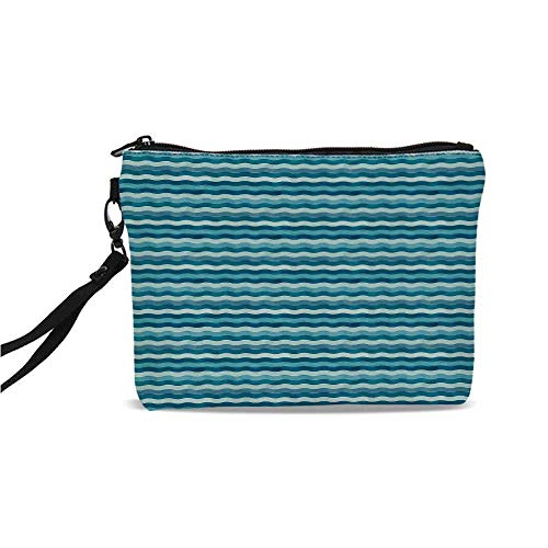 (Abstract Simple Cosmetic Bag,Ocean Themed Wave Design Marine Artwork Aquatic Color Palette Horizontal Lines for Women,9