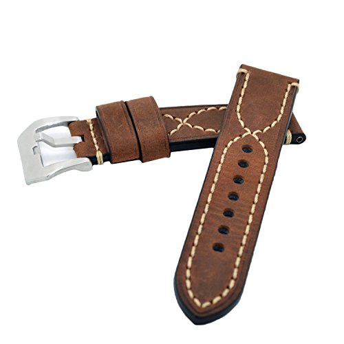 Brown 22mm Genuine Leather Handmade Wristwatch Watch Band Oil Tan Vintage Watchband for Men