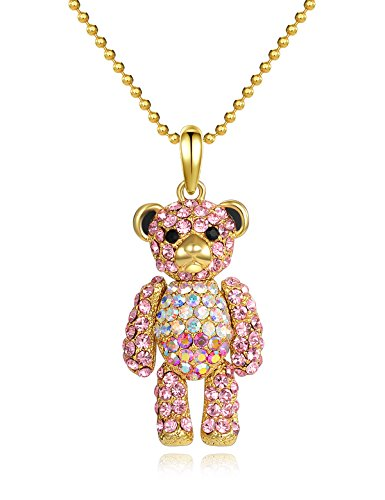 Valentine's Day Gifts for Her Teddy Bear Pendant Necklace Jewelry Pink Crystal Necklace Birthday Gifts for Granddaughter Girls Austrian Crystals for Kids Gifts for Women Anniversary Gifts For Her (Jade Pendant Pink Jewelry)