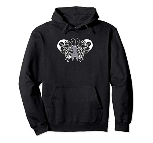 Brain Cancer Awareness Ribbon Hoodie Butterfly Products