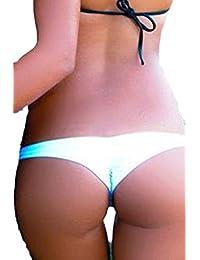 YACUN Women's Classic V Beach Pant Ruched T-Back Bikini Bottom