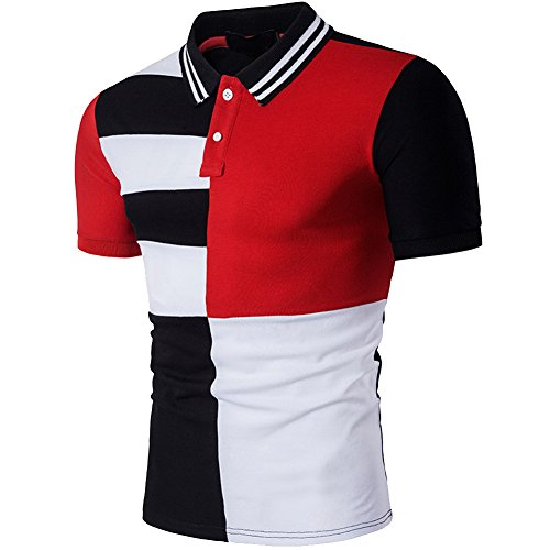 338b40e2fbb Jual Cottory Men s Fashion Stripe Contrast Color Short Sleeve Polo T ...