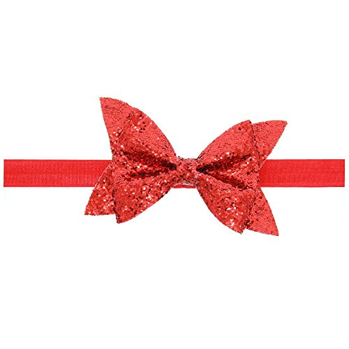 Price comparison product image Baby Shiny Bow Knot Headband Elasticity Hair Band Infant Kids hair accessories (Red)