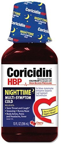 12 Ounce Liquid (Coricidin HBP Nighttime Multi-Symptom Cold Liquid Cherry 12 oz (Pack of 3))
