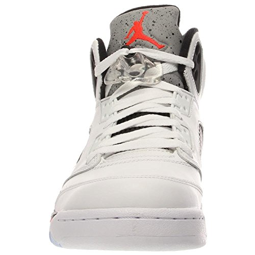 Nike Air Jordan 5 Retro 136027-035 - Zapatillas deportivas de cuero para hombre wht/infrrd 23-lt psn grn-blck