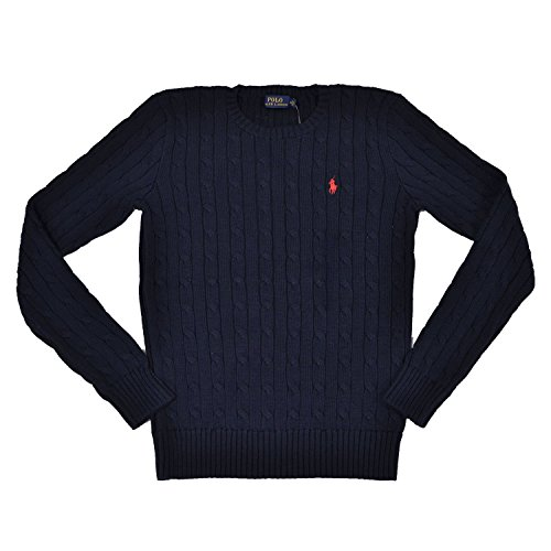 Polo Ralph Lauren Women's Cable Knit Crew Neck Sweater NAVY, XS