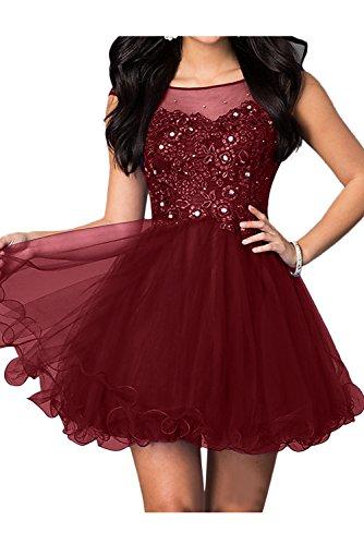 Ballkleider Ivydressing Mini Sweetheart Abendkleider Spitze Festkleid Damen Brautjungfernkleid Weinrot 77Zrx0q