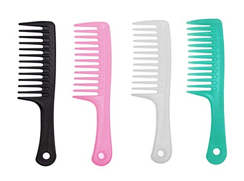 iPang 4Pcs Large Tooth Comb Detangling Hair Comb for Curly Hair Colorful