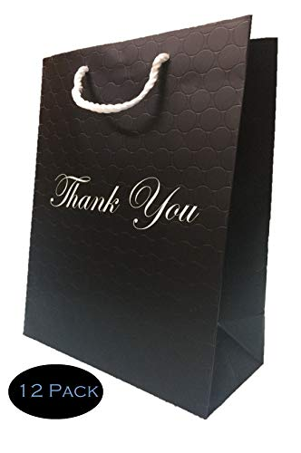 Large Black Thank You Gift Bags Heavy Duty 250 g Paper Shopping Bags with Luxury Handles 10