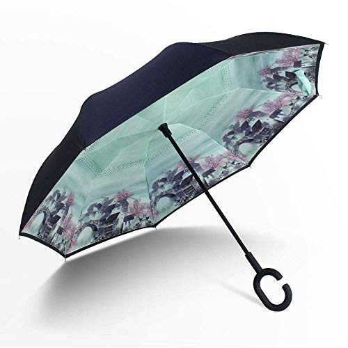 SXYCYP Dragys Folding Umbrella,Portable Sunscreen Anti-Uv Sun Umbrella,Steel Windproof Black Glue Umbrella,Fully Automatic Polyester Parasol/Ink/Reverse Umbrella 3 Generations