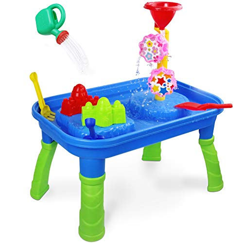Water Table Sand Table 2 in 1 Sand Tray Box Water Toys with Molds Shovel Rake Watering Can Activity Center Summer Beach Outdoor Toys Gift for Kids Toddlers Boys ()