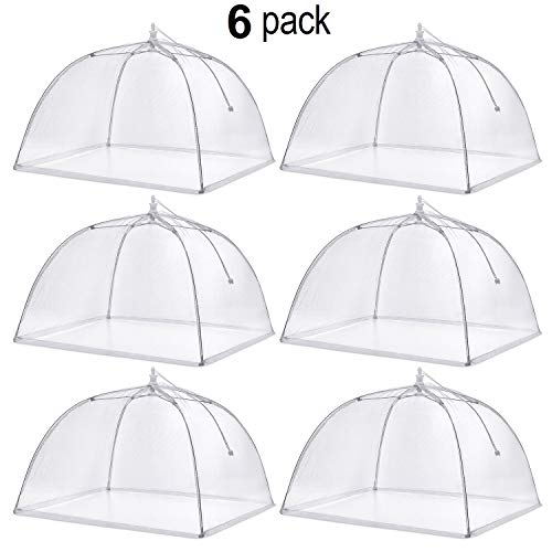 Prextex Pop Up Mesh Screen Food Cover (6 Pack) with 4 tablecloth Clamps -