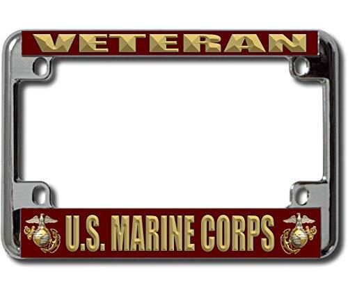 Motorcycle Corps Marine - U.S. Marine Corps Veteran Chrome Motorcycle License Plate Frame