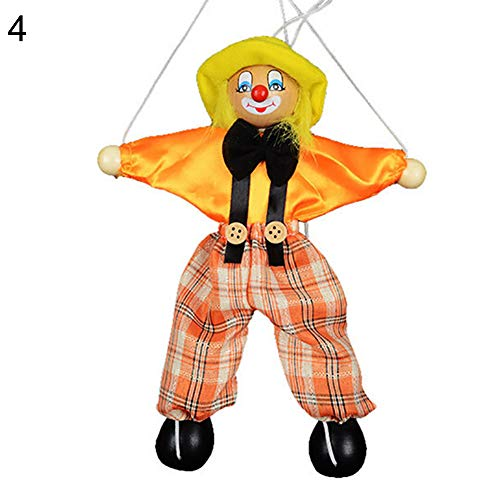 (XKSIKjian's Baby Toys Kids Pull String Clown Puppet Wooden Marionette Handcraft Joint Move Doll Newborn Brain Development Toys for Infants Toddler - Yellow)