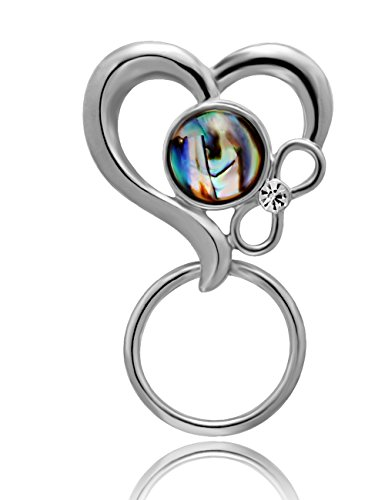 CHUANGYUN 3 Colors Abalone Shell Heart Shaped Strong Magnetic Brooch Eyeglass Holder,Couple Jewelry (Silver) by CHUANGYUN