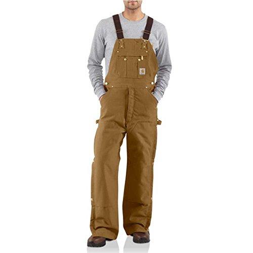 Carhartt Men's Quilt Lined Zip To Thigh Bib Overalls,Brown,36 x 32