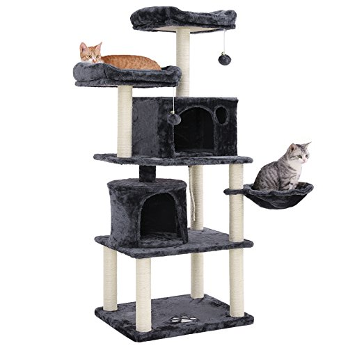 SONGMICS Multi-Level 60' Cat Tree with Sisal-Covered Scratching Posts, Plush Perches, Basket and 2 Condos, Cat Tower Furniture - for Kittens, Cats and Pets - Smoky Gray UPCT90G