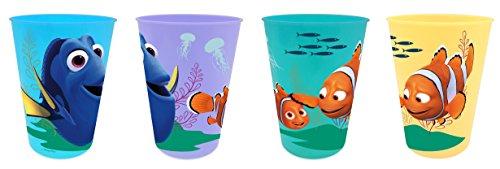 Disney Findet Dorie - Nemo (101507) Kinder Trinkbecher-Set, Plastikbecher in 4 verschiedenen Farben, 4-teilig