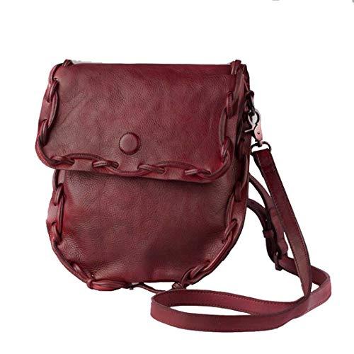 Haxibkena Color Jujube color Sólido Genuino Brown Bandolera Mujer Clásico Cuero De Red Para Bolso pnxpw7Cgqr