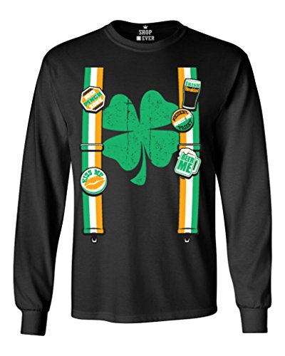 Shop4Ever® Irish Suspenders Long Sleeve Shirt St. Patrick's Day Shirts