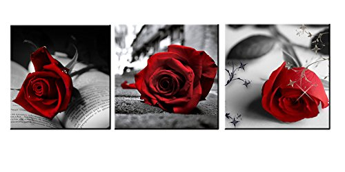 Amoy Art - Red Rose Flowers Gray Book Canvas Wall Art Pictures Canvas Prints for Home Decorations Ready to Hang Set of 3 Panels (12x12inch (Rose Flower Picture)