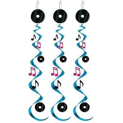 Confezione da 3-& Rock Roll Whirls-50 Note musicali da festa Beistle