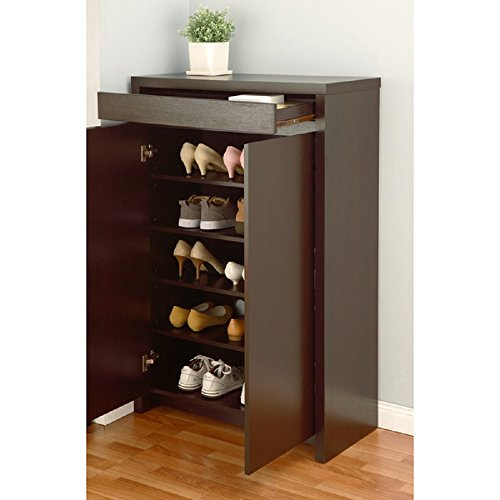 Studio 5-shelf Red Cocoa Shoe Cabinet by Furniture of America