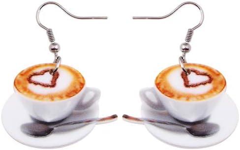AdronQ La Gota Plana Ligera Cuelga El Corazón Grande En Los Pendientes De La Comida De La Taza De Café para