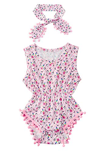 (Baby Toddler Rompers Bodysuit 0-3M Hippie Bright Colors Cute Unicorn Eye Jumper + Headband Granddaughter Infant Wiggly Girl Two Piece Sunsuit Sweet Cartoon Newborn Children Wearing)