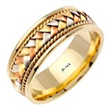 14K Tri Color Solid Gold Hand Braided Wedding Ring Band for Men (Sizes 9 - 14)