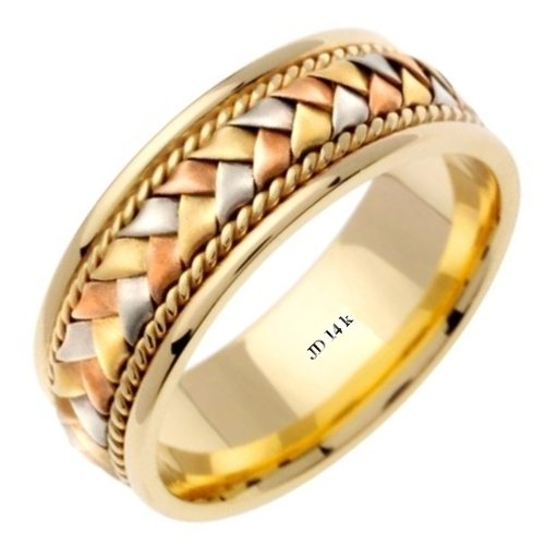 14K Tri Color Solid Gold Hand Braided Wedding Ring Band for Men (Sizes 9 - (Hand Braided Wedding Band)