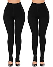 CHRLEISURE Women's Winter Thick Velvet Leggings Warm Solid Color Elastic Pants