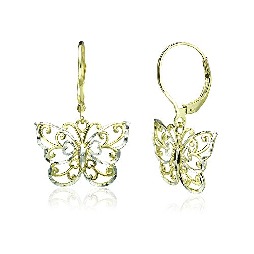 - Yellow Gold Flashed Sterling Silver Two-Tone Diamond-cut Filigree Butterfly Dangle Leverback Earrings
