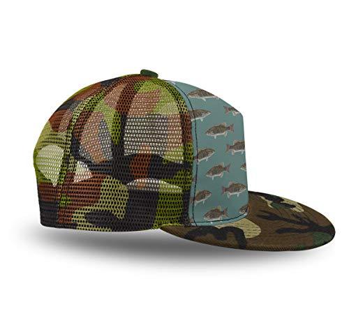 YongColer Cool Baseball Caps, Adjustable Blank Trucker Hats Summer Mesh Cap Flat Bill, Gift for Boys Girls Teens (Fishing Fish Bass Blue,1 Pack) ()