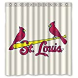 "ST Louis Cardinals Pattern Custom Soft Waterproof Fabric Bathroom Shower Curtain 66""x72"""
