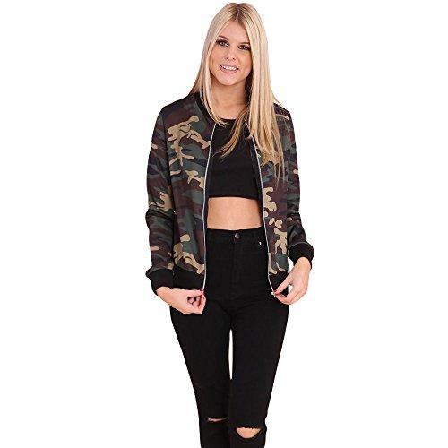 Kinghard Women Stand Collar Zipper Camouflage Printed Bomber Jacket (S)