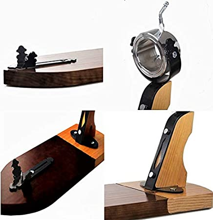 BlendNature Jamonero Profesional Giratorio Tabla Soporte de Madera + Cuchillo de Corte Alveolado y Forjado Artesanal de Gran Precisión