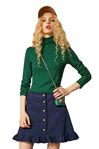 Elf Sack Womans Summer High Neck Stripes Slim T Shirt Tops Green&Black - Green And Stripes Black