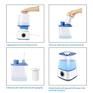 Ultrasonic Cool Mist Humidifier Atomize Mist Intelligent Humidifier with LED Digital Display Remote Control Automatic Adjustable Output 1.0 Gallon Capacity for Whole House and Office