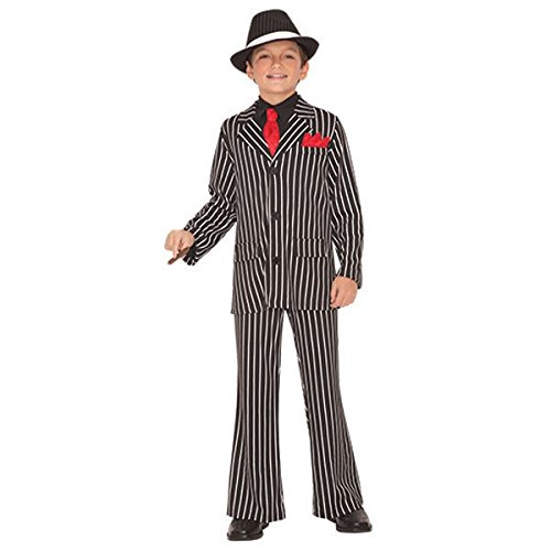 Mafia Girl Costumes (Italian Mafia Party Black and White Striped Suit Gangster Guy Costume, Fabric, Children's Large (12-14), 3-Piece Set)