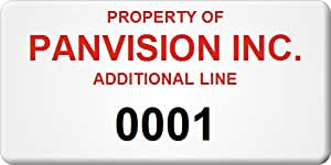 """Asset Label, Property of Company Name with Numbering, Stick-n-Peel™ Polyester Cloth with Removable Adhesive Labels, 3"""" x 1.5"""""""