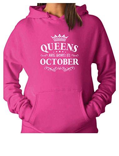 TeeStars - Birthday Gift for Women - Queens are Born in October Women Hoodie XX-Large Pink