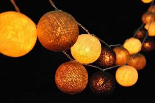 Guirnalda de luces LED, bolas de algodón tonos de marrón, la case de, interior, decoración del dormitorio: Amazon.es: Iluminación