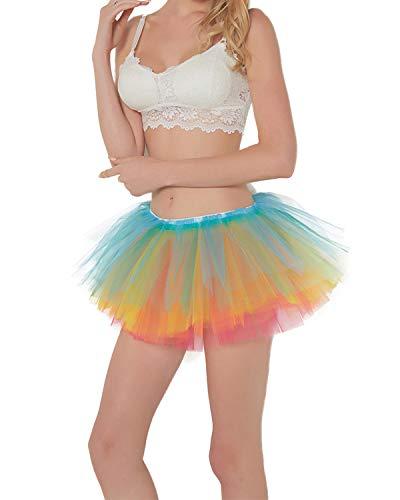 Women Classic 5 Layered Neon Rainbow Tulle Tutu Skirt Puffy Ballet Bubble Skirt ()